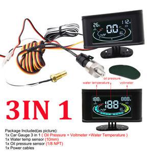 Multi-function LCD Digital 3in1 Car Meter LED Water Temp Oil Pressure Gauge Volt