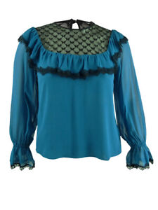 Nanette Lepore Women's Lace-Trim Silk Blouse (L, Teal)