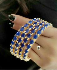 Indian Bollywood Fashion AD Blue Stone Bangle Partywear Gold Tone FashionJewelry