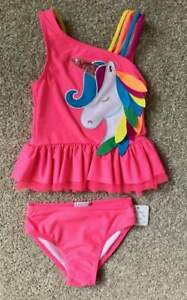 Flapdoodles NWT Toddler Girls Bright Pink Unicorn Swim Suit 2-Piece Sz 3T