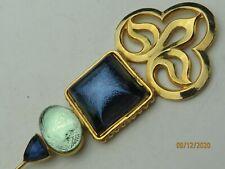 Philippe Ferrandis Paris gold tone blue-green Iridescent glass pin