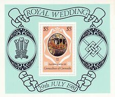 GRENADA GRENADINES 1981 ROYAL WEDDING $5 MINIATURE SHEET MNH