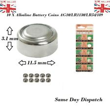 10 X pcs AG10 GP189 SR54 LR1130 L1131 1.5V Alkaline Button Cell Battery soda UK
