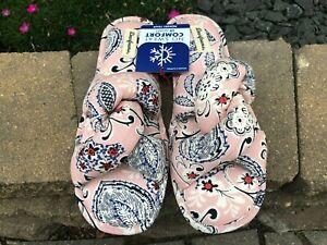 NEW Women's Dearfoams Angela Twist Knot Slides Slippers Size Large 9-10