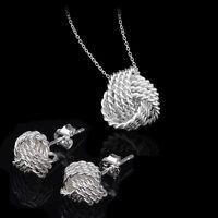 Wedding Jewelry Set Ladies Jewellery Necklace Earrings 925 Sterling Silver New