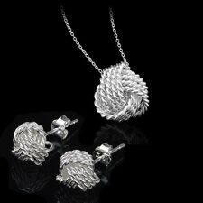 Wedding Jewelry Set Ladies Jewellery Necklace Earrings 925 Sterling Silver New