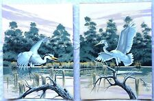 "Vintage James Bunnell Signed Territorial Egrets  - Two Serigraphs 11"" x 15"""