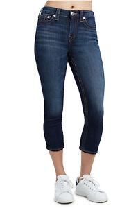True Religion Femmes Taille Haute Capri Jean 23 Nwt Minuit Lavage Extensible
