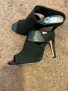 Calvin Klein Black Mule Heels Sandals Satchel Faux Leather Open Toe Size 6 NEW