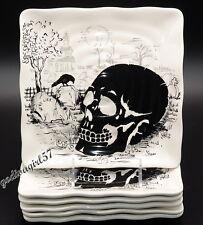 Maxcera Skull * 6 SALAD PLATES * Square, Halloween, Spooky, NEW!