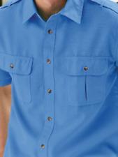 NEW IN PACKAGE ~ John Blair 'Linen Look' Pilot Shirt Men's XL  - Blue