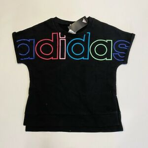 adidas Girls Youth Black Terry Top Sweatshirt Short Sleeve Black M 10-12