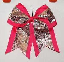 "8"" Pink & silver HUGE Cheer Bow, sequins Dance Softball breast cancer awareness"