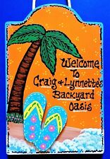 Flip Flops BACKYARD OASIS Personalize SIGN Wall Plaque Tropical Deck Pool Patio