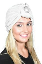 Womans Headcovering White Turban Knot Head Wrap w/Silver Circle & Pearl