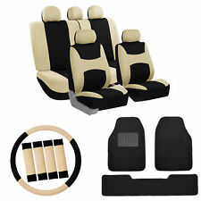 Car Seat Covers Beige Set for Auto w/Steering/Belt Pad Ca with Floor Mats