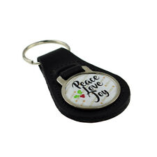 Peace Love Joy Christmas Design Round Bonded Leather Key Ring XKFR013