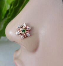 Emerald Nose Stud Rose Gold Nose Stud Indian Nose Piercing Flower Nose Piercing