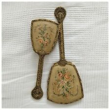 VINTAGE PETIT POINT FILIGREE VANITY BRUSH AND MIRROR SET