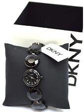 NWT DKNY NY2125 Black Tone Round Glitz Adjustable Bracelet Black Dial Ladies'