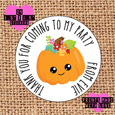 Personalised 24 pumpkin  party bag stickers sweet cone labels p