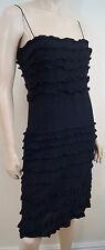 DKNY Black 100% Silk Spaghetti Strap Sleeveless Ruffle Detail Evening Dress Sz:6