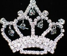 SILVER RHINESTONE PRINCESS CROWN BEAUTY PAGEANT TIARA PIN BROOCH JEWELRY DANGLES
