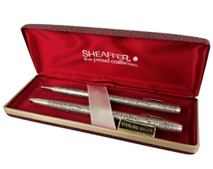 SHEAFFER Sterling Silver Grapes and Leaves Ballpoint Pen Mechanical Pencil Set