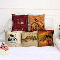 For Home Sofa Decor Vintage Soft Linen Cushion Cover Waist Throw Pillow Case XMA