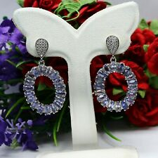 NATURAL 2 X 5 mm. MARQUISE BLUE TANZANITE & WHITE CZ EARRIGNS 925 SILVER