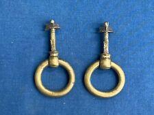 2 Vintage Antique Brass Drop Ring Drawer Pull Handles Furniture Hardware