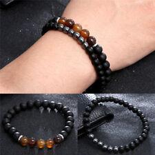 2x natürliche schwarze Stein Perlen Armband Set für Männer Frauen Schmuck-Set