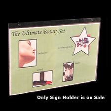 """Lot of 10 Clear Acrylic Horizontal Wall Mount Sign Holder (17""""W x 11""""H)"""