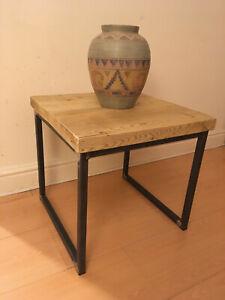 Rustic Vintage Industrial Wooden Coffee Table Boxed Steel Metal Legs