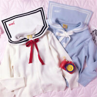 Japanese Preppy Style Sweet Lolita Mori Girl Sailor Collar Knitwear Coat Jacket