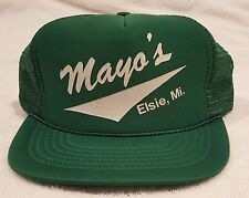 "Snap Back - Mesh - Trucker Hat Green - "" Mayo's  Elsie, Mi."""