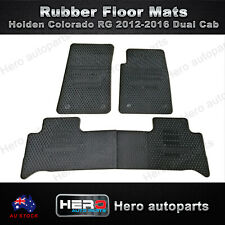 Rubber Floor Mats fit Holden Colorado RG 2012-2016 Black Dual Cab Front and Rear