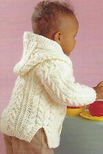 "Baby childrens Knitting Pattern Aran Cable Jackets Boys Girls 18-28"" 99p"