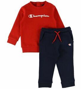 Champion Infant Boys Tracksuit Cotton Crewneck Red Navy Sports Set 305847-RS053
