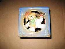 "New Luminessence Tealight Porcelain Candle Holder Christmas Bears 4"" x 4"""