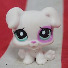 Littlest pet shop dog puppy white w / blue eye purple eye socket LPS#3688
