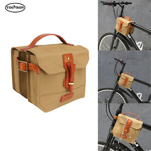 TOURBON Bike Bicycle Frame Bag Double Panniers Cycling Top Tube Pouch Vintage