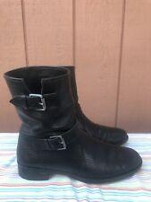 EUC J CREW E0849 WOMEN'S SIZE US 9 BLACK PEBBLED LEATHER BIKER BOOTS