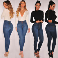 Women's Denim Button Up High Waist Skinny Jeans Slim Fit Stretch Casual Pants