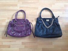 2x Ladies Next Aubergine Medium PVC And Black Leather/Gold Chain Large Tote Bag