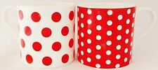 Red Dots & Spots Mugs Set of 2 Fine Bone China Large Capacity Balmoral Red Mugs