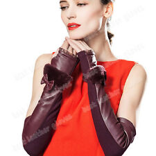 Women's Opera Long Warm Evening Genuine Leather Fingerless Gloves For Women Lady