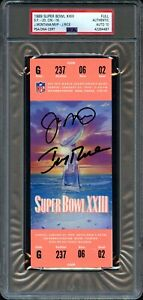 1989 SUPER BOWL 23 XXIII MONTANA RICE DUAL SIGNED FULL TICKET AUTO 10 PSA/DNA
