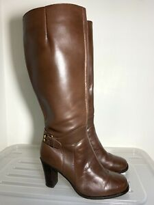 CORELLI 'Pacific' Brown Leather Knee High Boots Heels Size 7.5 #18986