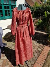 Vintage 60s 70s. Hippy Boho folk Peasant Maxi Dress size 10 to 12 hand made red